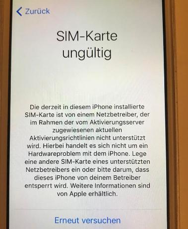iPhone SIM-Karte ungültig