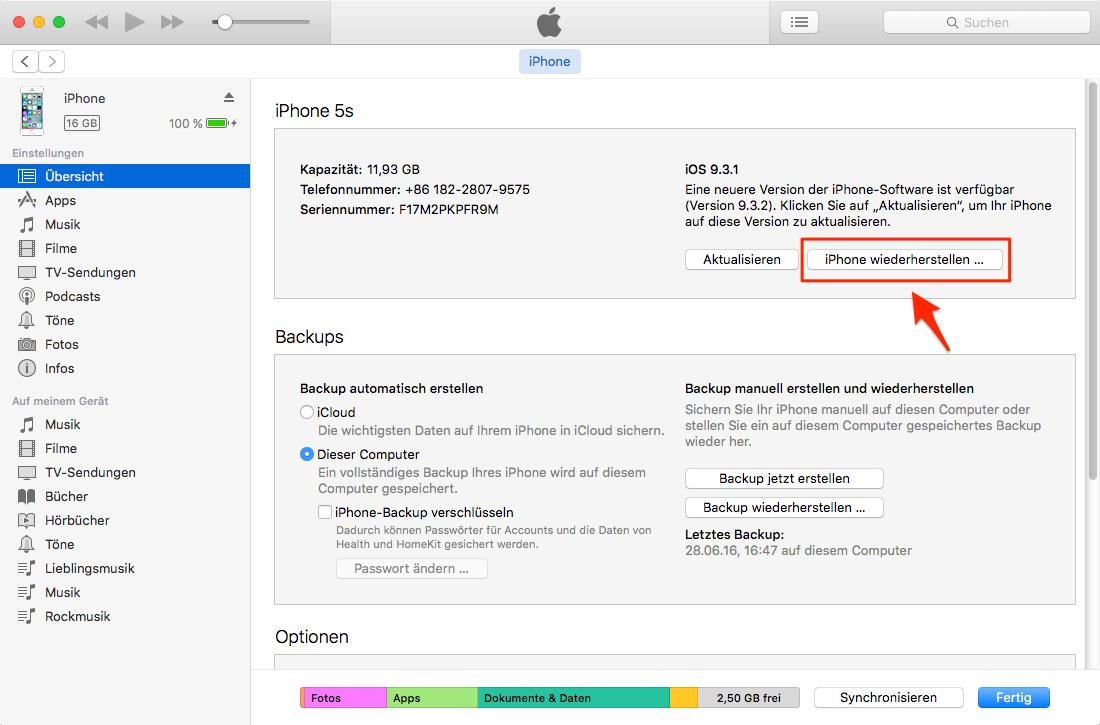Daten aus iTunes-Backup zurückbekommen