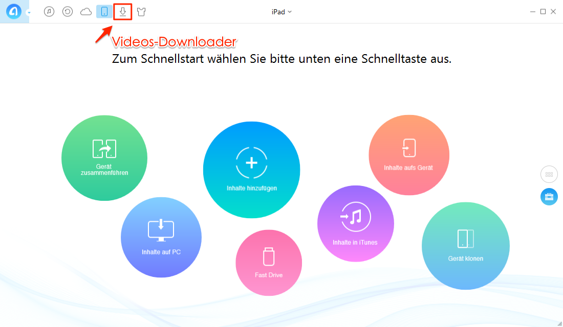 AnyTrans öffnen und Download Funktion auswählen – Schritt 1
