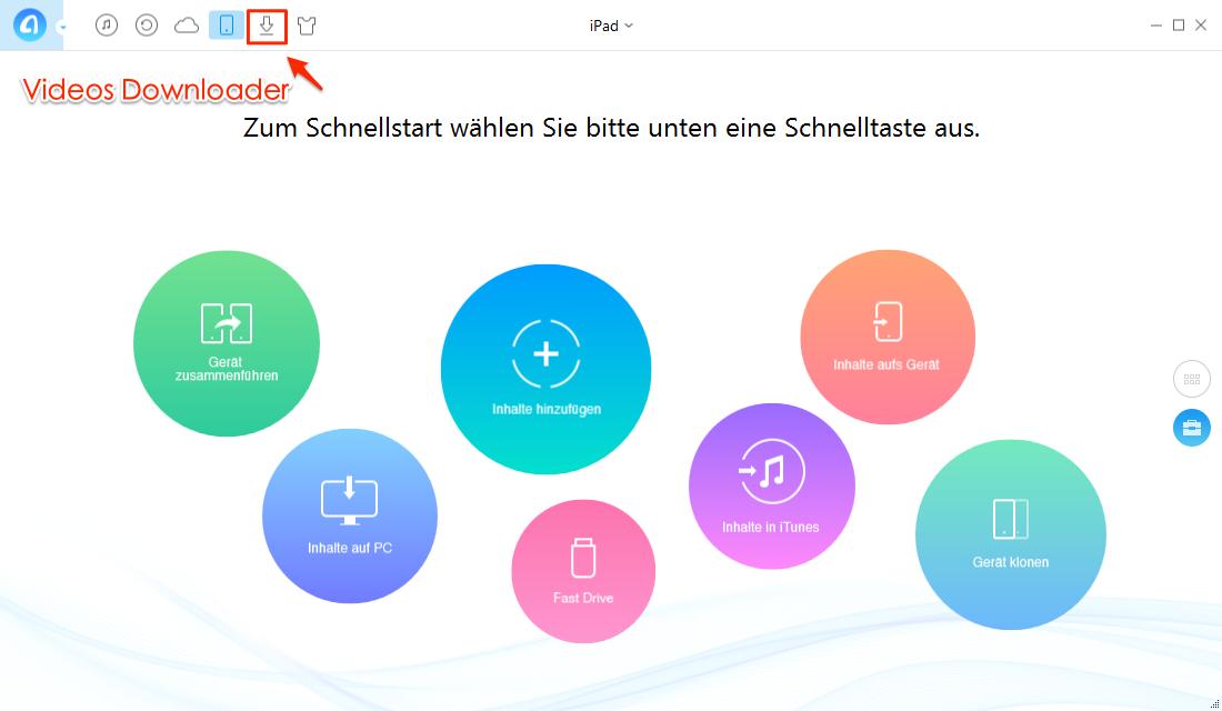 AnyTrans öffnen und Download auswählen – Schritt 1