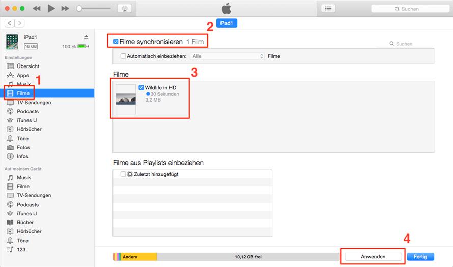 Videos auf iPad übertragen über iTunes