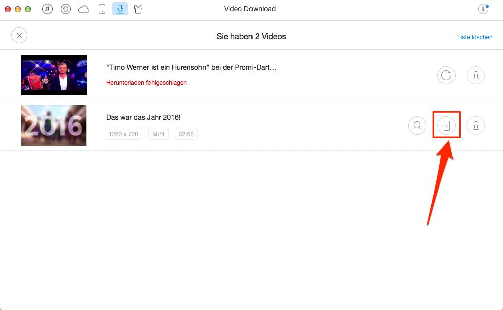 Kostenlos! Videos vom iPhone laden, ohne iTunes – Schritt 3