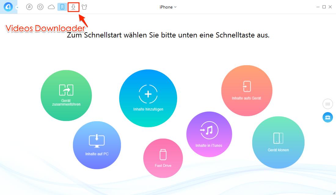 AnyTrans starten und Downloader auswählen - Schritt 1