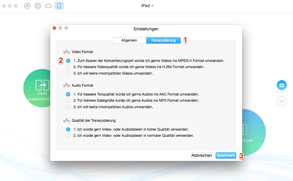 Videos auf iPad übertragen: das Format der Videos einstellen