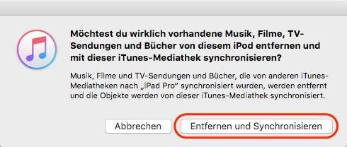 die Meldung von iTunes bei der Synchronisatio