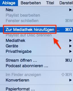 Filme und Videos zur iTunes Mediathek hinzufügen – Schritt 2