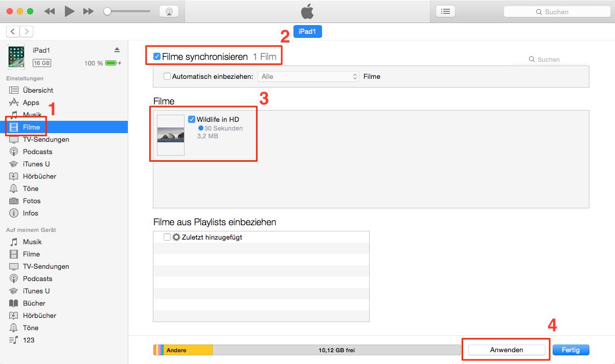 Filme/Videos auf iPad übertragen – Über iTunes