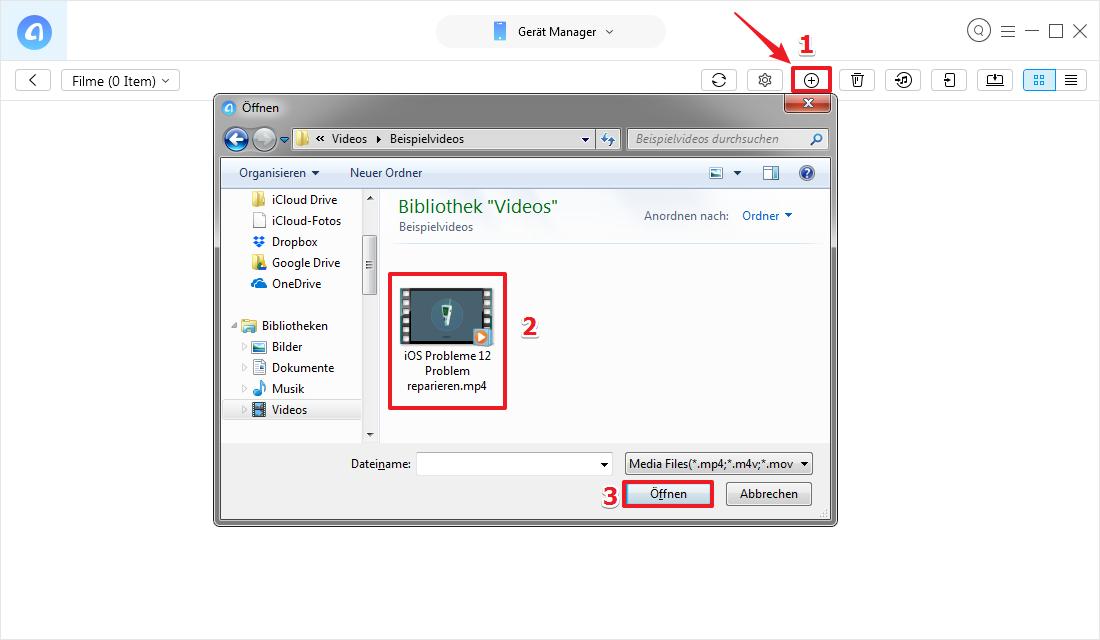 Einfach! Videos vom Computer auf iPhone laden – Schritt 3