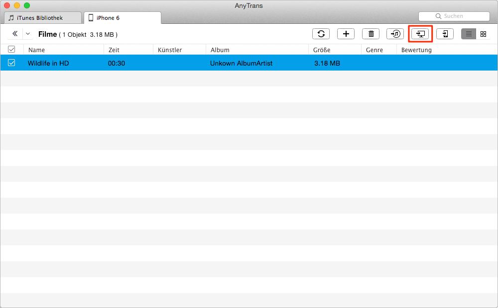 Videos vom iPhone auf Mac mit AnyTrans übertragen – Schritt 2