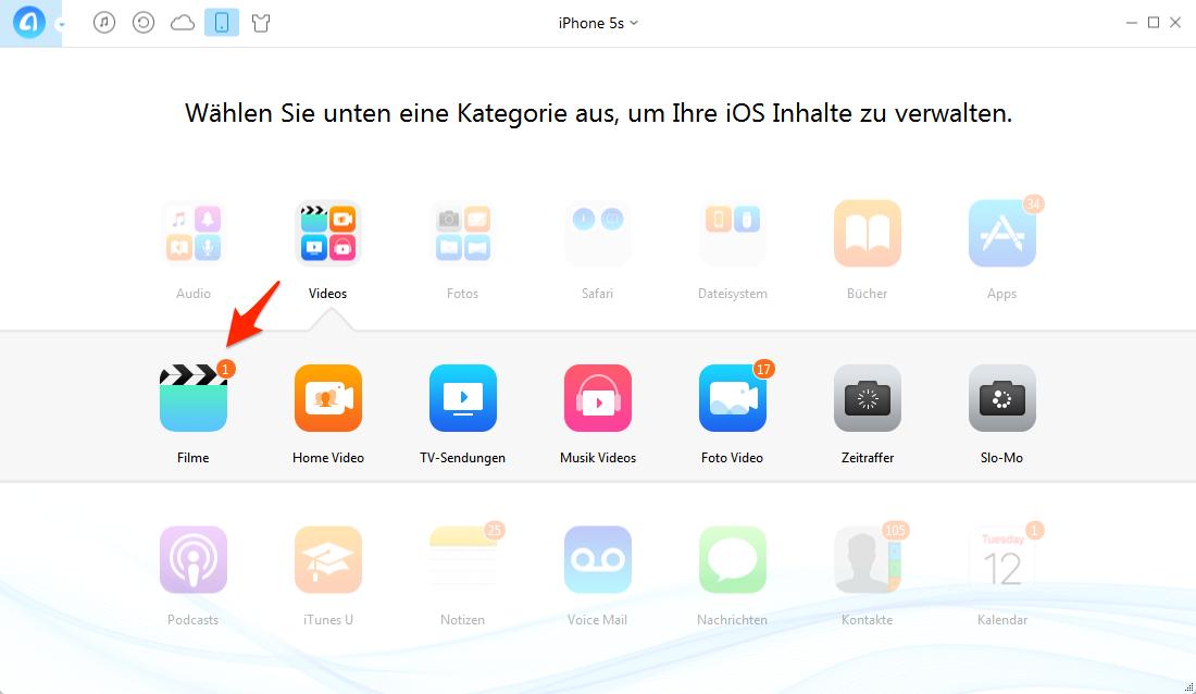 Videos vom iPhone auf PC mit AnyTrans versenden – Schritt 3
