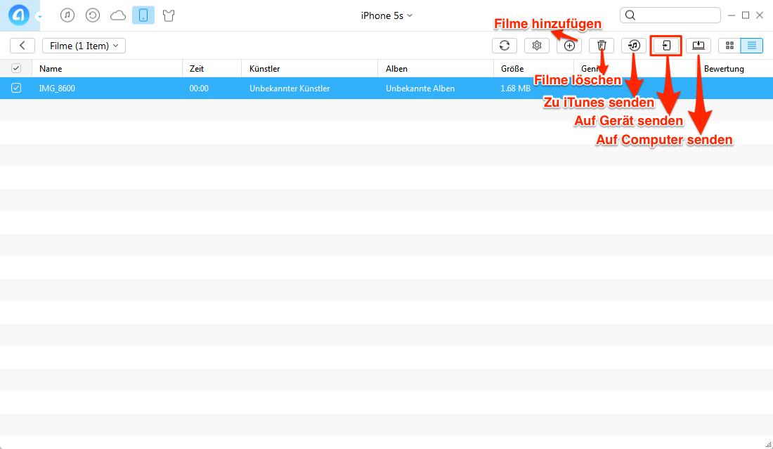 iPhone Videos auf PC übertragen, ohne iTunes – Schritt 4