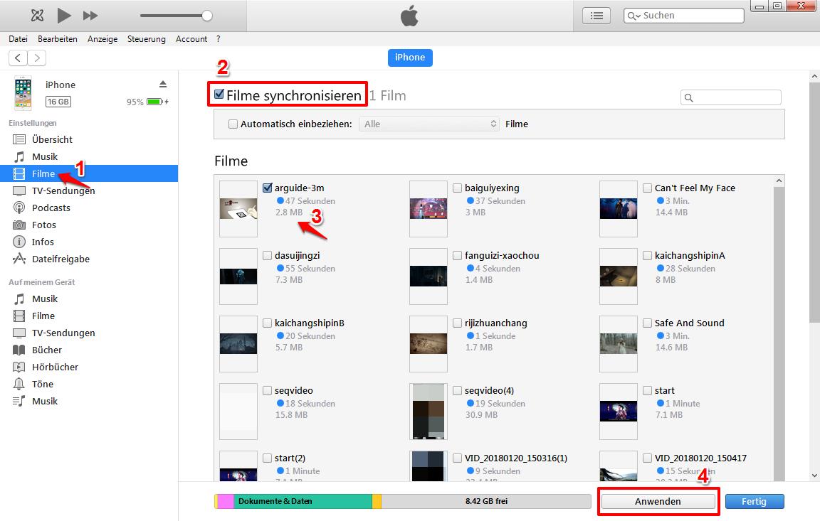 Videos vom Mac oder PC über iTunes auf iPhone