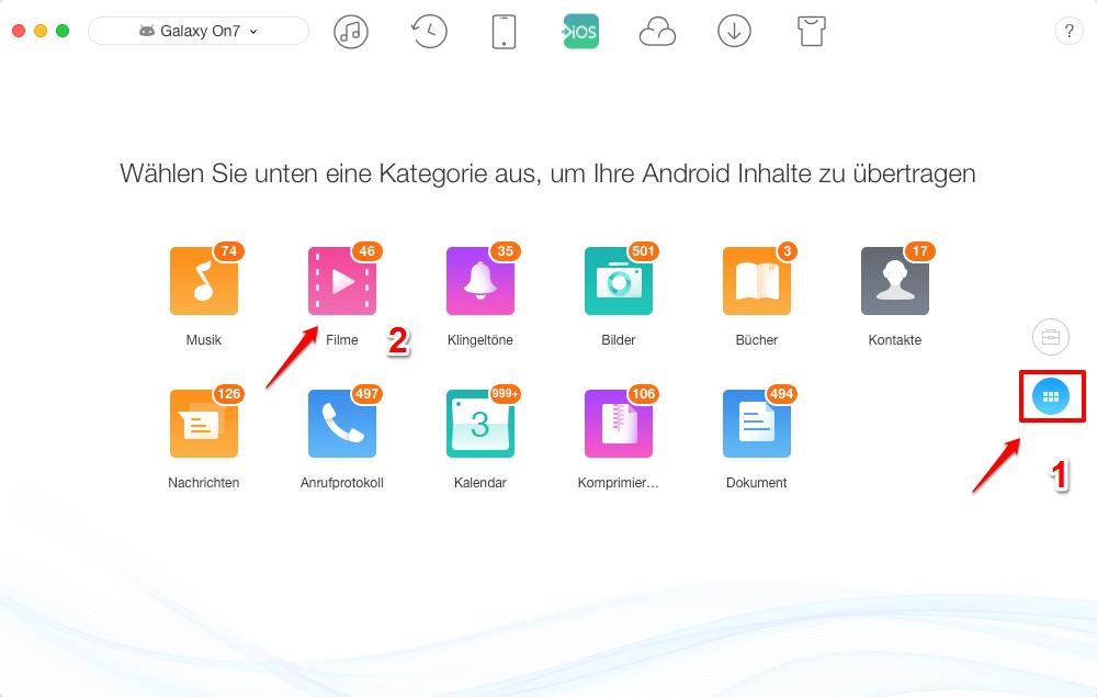 Videos von Android auf iPhone - AnyTrans öffnen