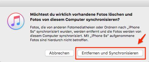 Vorhandene Fotos werden von iTunes entfernt