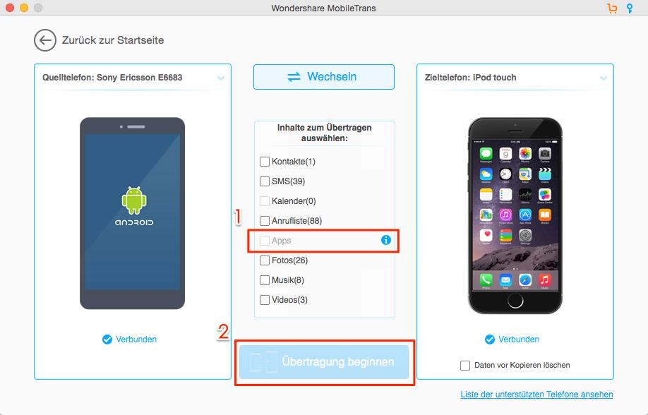 Android WhatsApp auf iPhone übertragen – Schritt 3