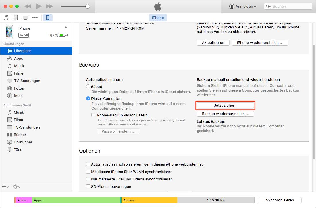 iPhone Daten mit iTunes sichern