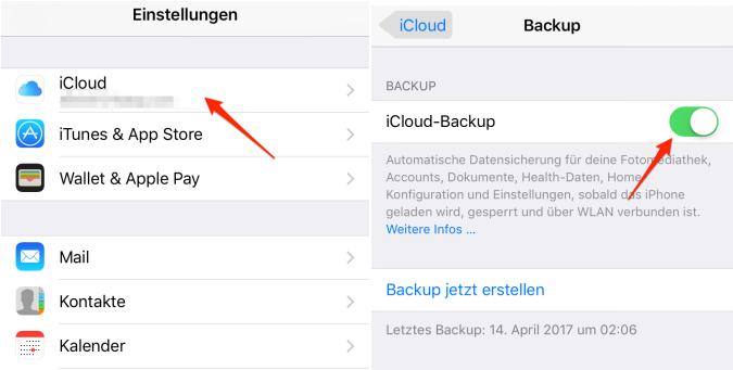 iPhone Daten mit iCloud sichern