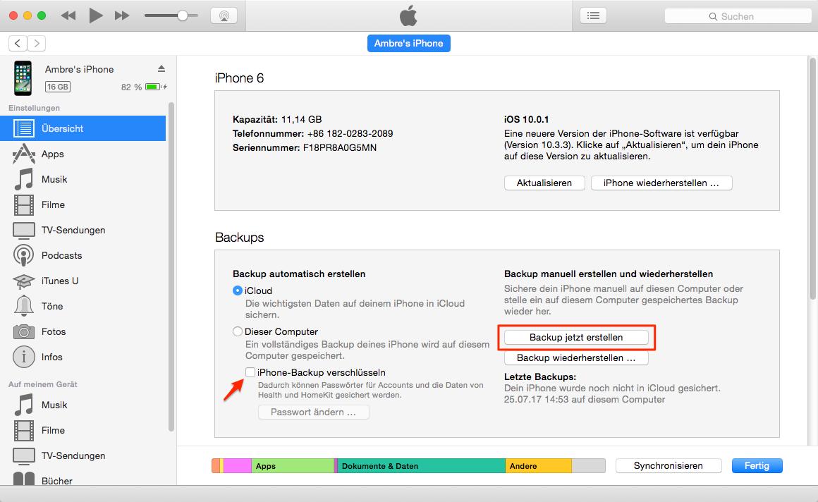 iOS 11 vorbereiten – iOS-Gerät mit iTunes sichern