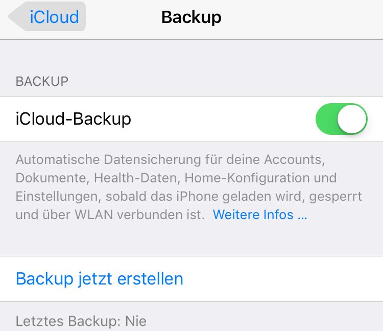 Vor dem Update auf iOS 11 iCloud Backup erstellen