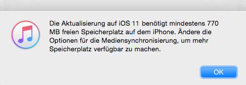 Speicher für iOS-Update freigeben