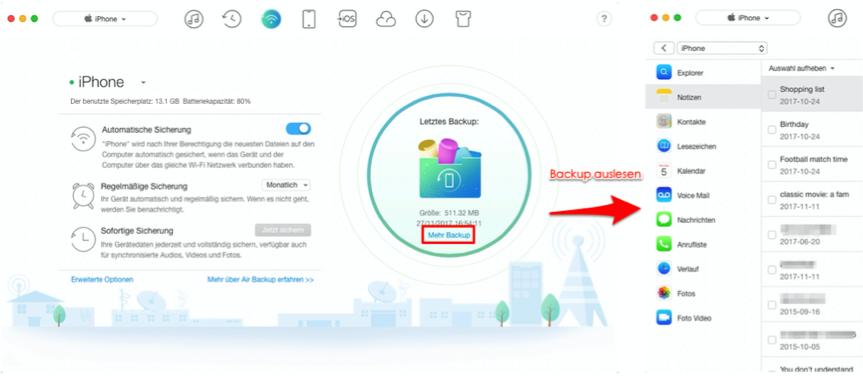 Was speichert iTunes Backup – Detaillierte überprüfen