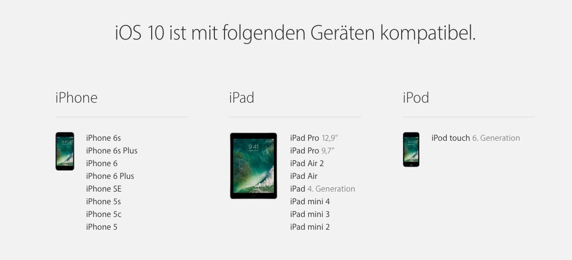Diese Modelle sind mit iOS 10 kompatibel