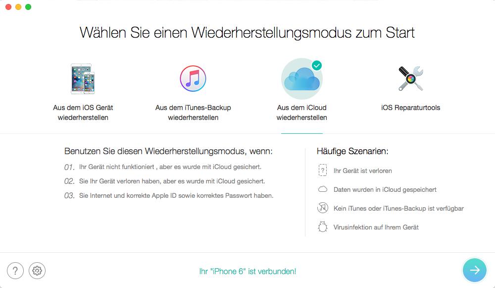 WhatsApp vom iCloud Backup wiederherstellen – Schritt 1
