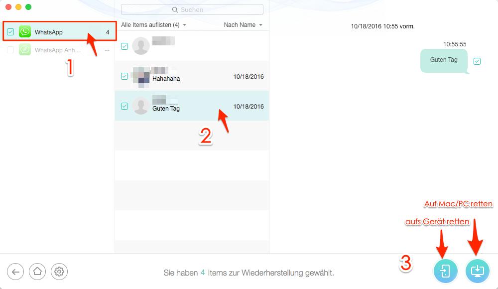 WhatsApp Chats aus Backup wiederherstellen – Schritt 3