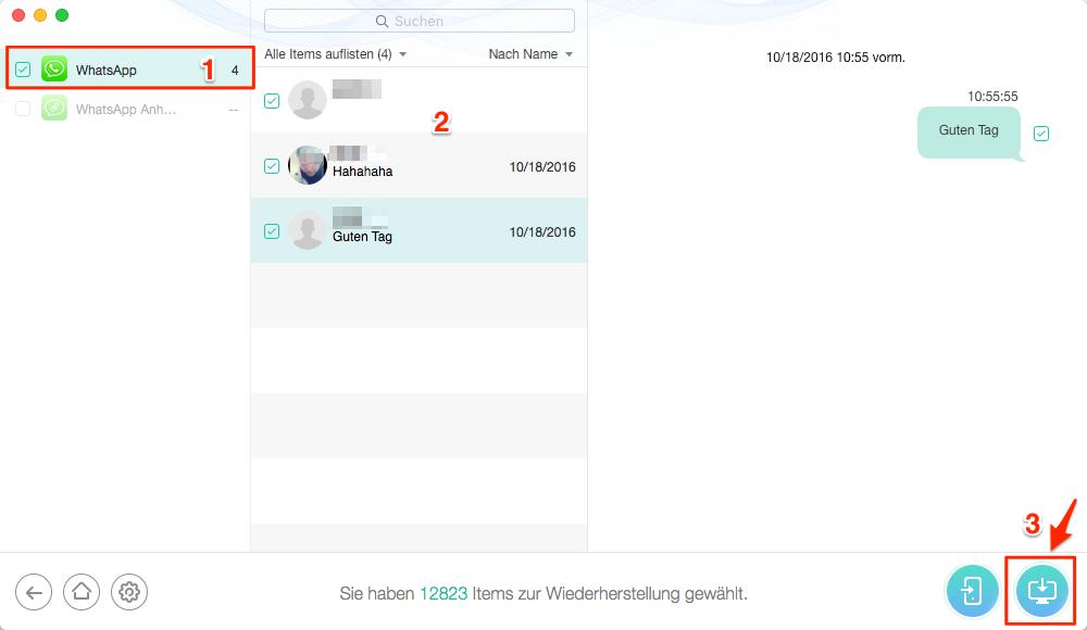 WhatsApp Chats wiederherstellen ohne Backup – Schritt 4