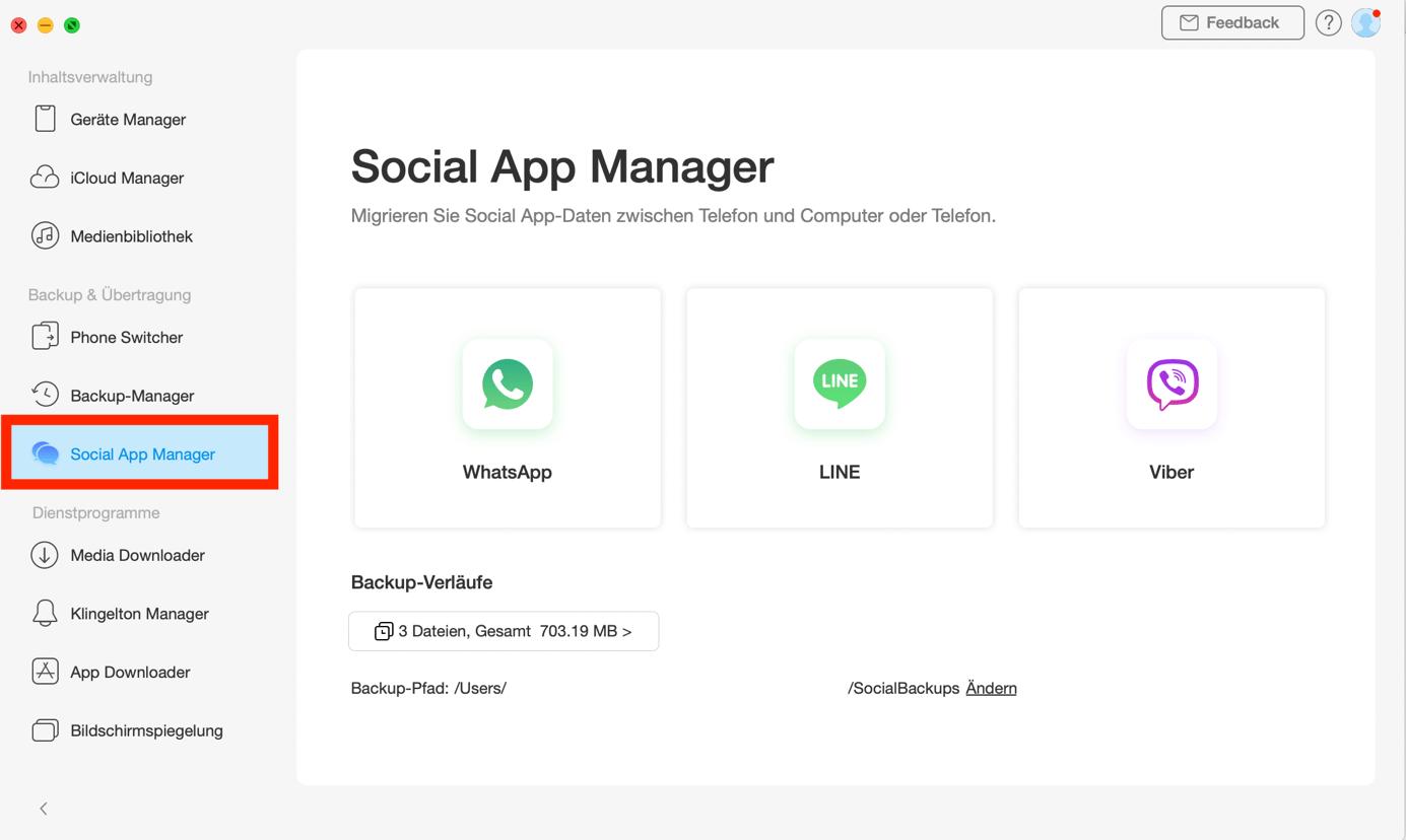 """Klicken auf die Option """"Social App Manager""""-Schritt 1"""