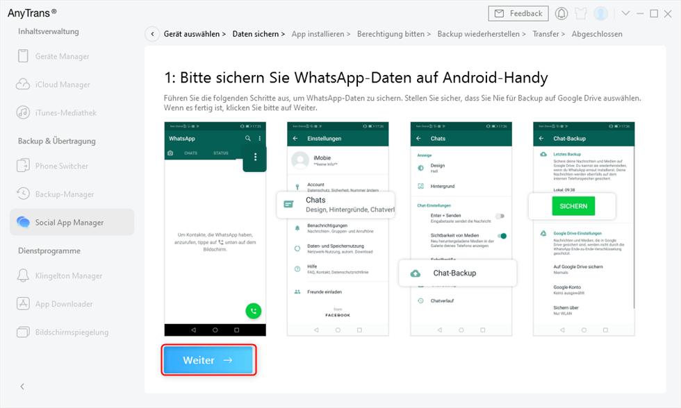 WhatsApp Daten auf dem alten Android sichern