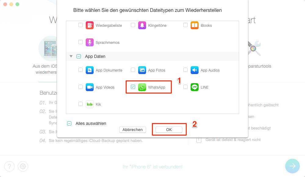 WhatsApp Nachrichten wiederherstellen iPhone XS/XR/X/8/7 - auswählen