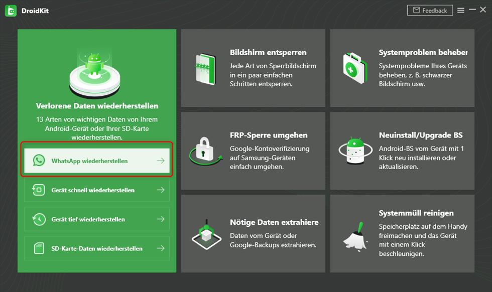 WhatsApp Nachrichten wiederherstellen über DroidKit