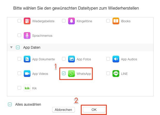 WhatsApp Nachrichten aus iOS-Gerät zurückrufen – Schritt 2