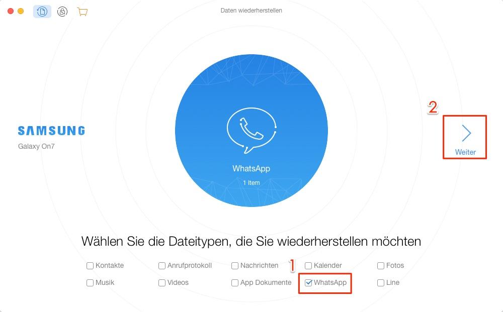 Wie kann man WhatsApp Nachrichten wiederherstellen – Schritt 2