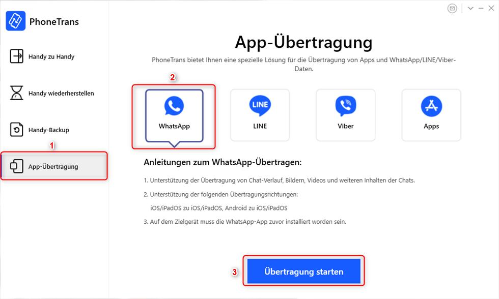 WhatsApp von Android auf iPhone über PhoneTrans