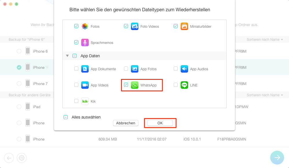 WhatsApp Chats wiederherstellen iPhone: aus iTunes Backup – Schritt 4