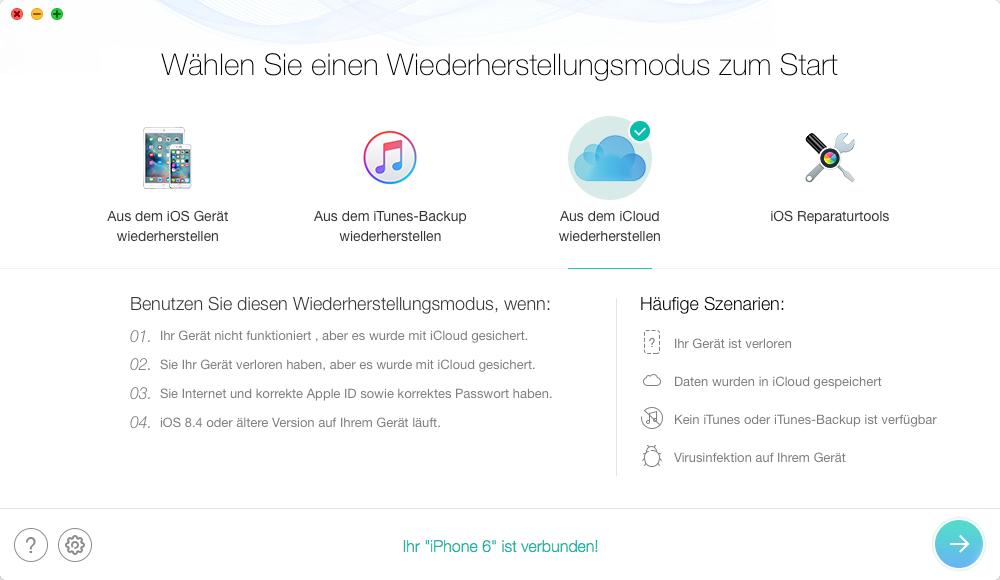 Gelöschte WhatsApp Nachrichten aus iCloud wiederherstellen – Schritt 2