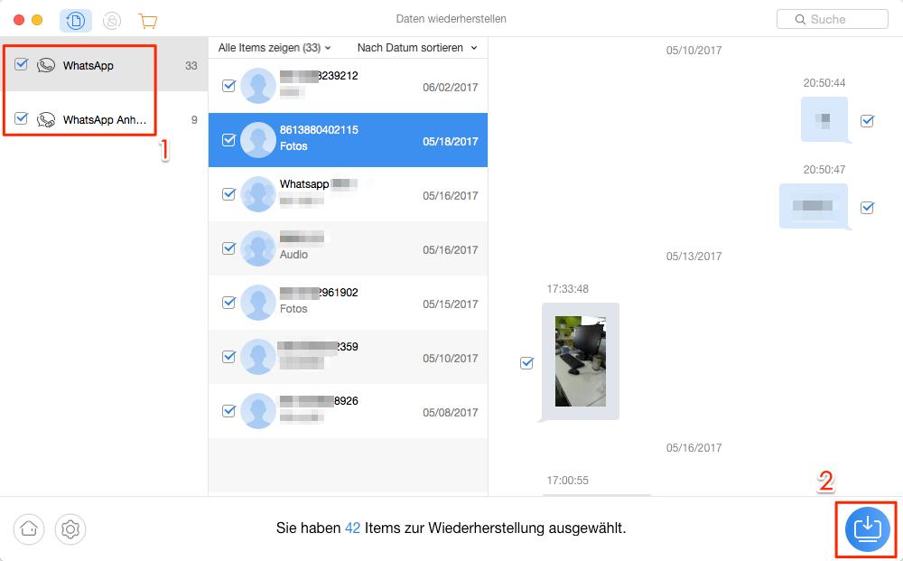 WhatsApp Daten auf Samsung ohne Backup wiederherstellen – Schritt 4