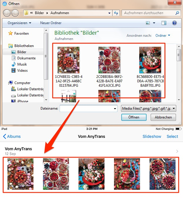 Fotos vom PC auf iPad fertig übertragen – Schritt 3