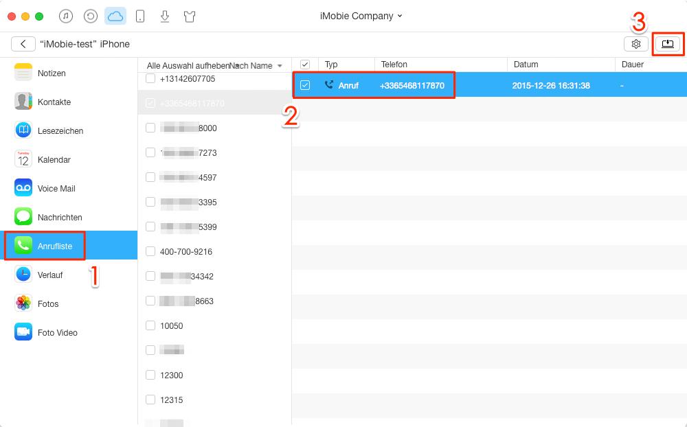 iCloud Anrufverlauf exportieren - Schritt 4