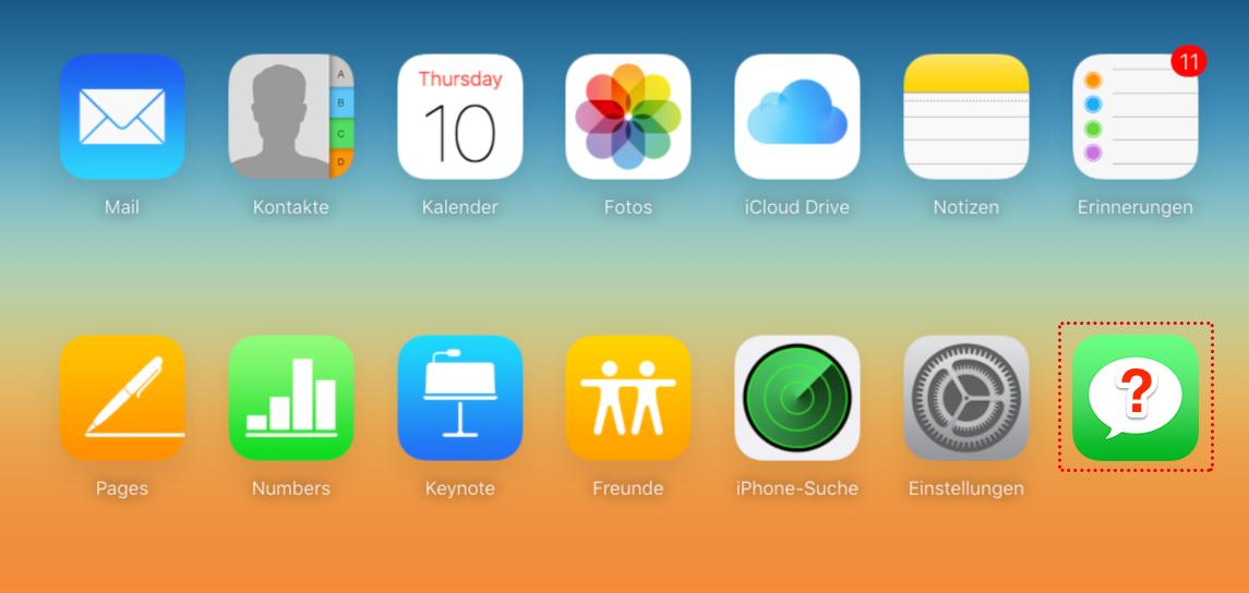 Das Hauptfenster von iCloud.com