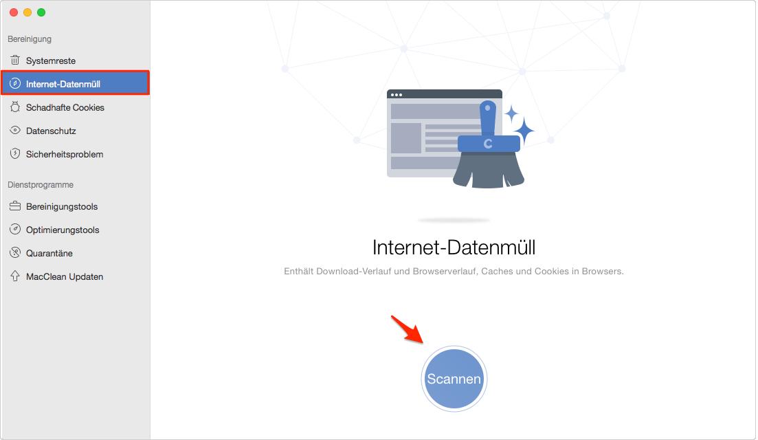 Internet-Datenmüll in MacClean wählen - Schritt 1