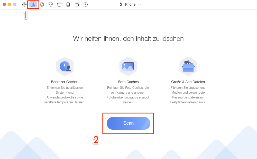 """PhoneClean öffnen und wählen Sie """"Schnelle Reinigung""""- Schritt 1"""