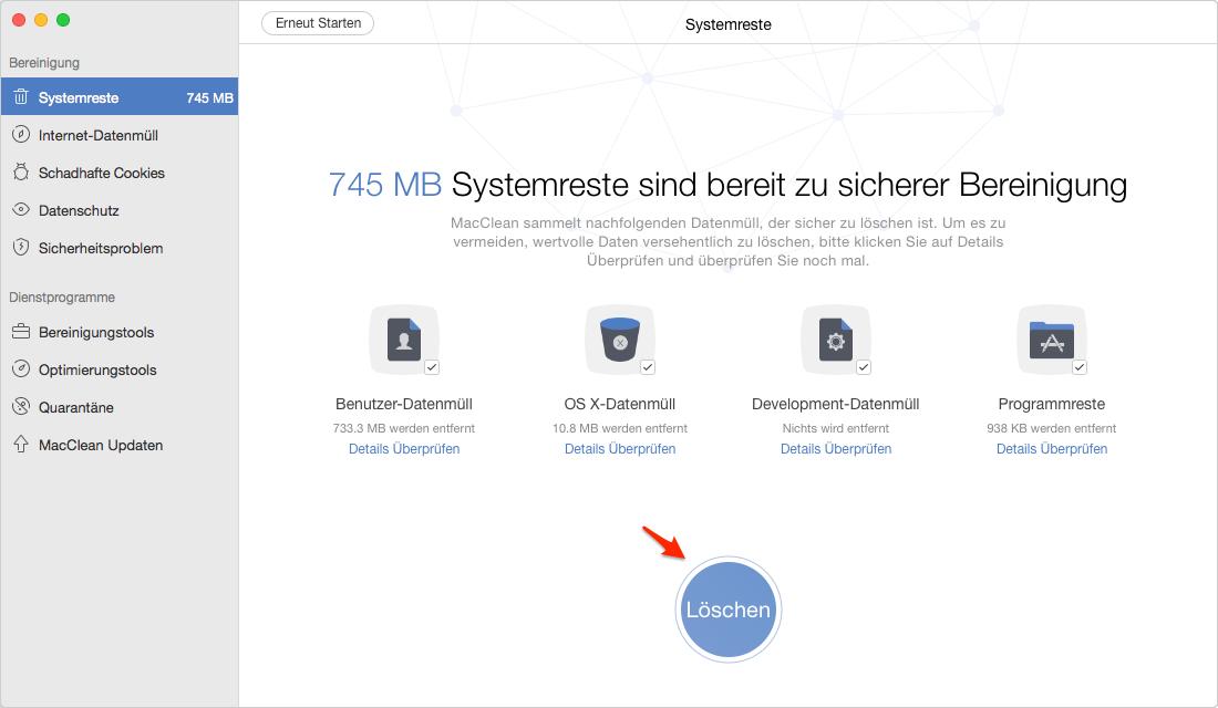 MacClean kann Ihr Mac komplett reinigen - Schritt 2