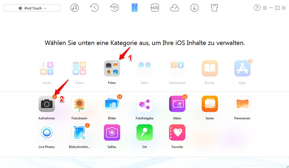Fotos vom iPod touch löschen – Schritt 2