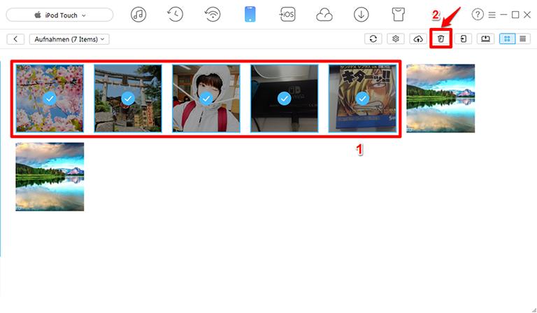 iPod touch Bilder selektiv löschen – Schritt 3