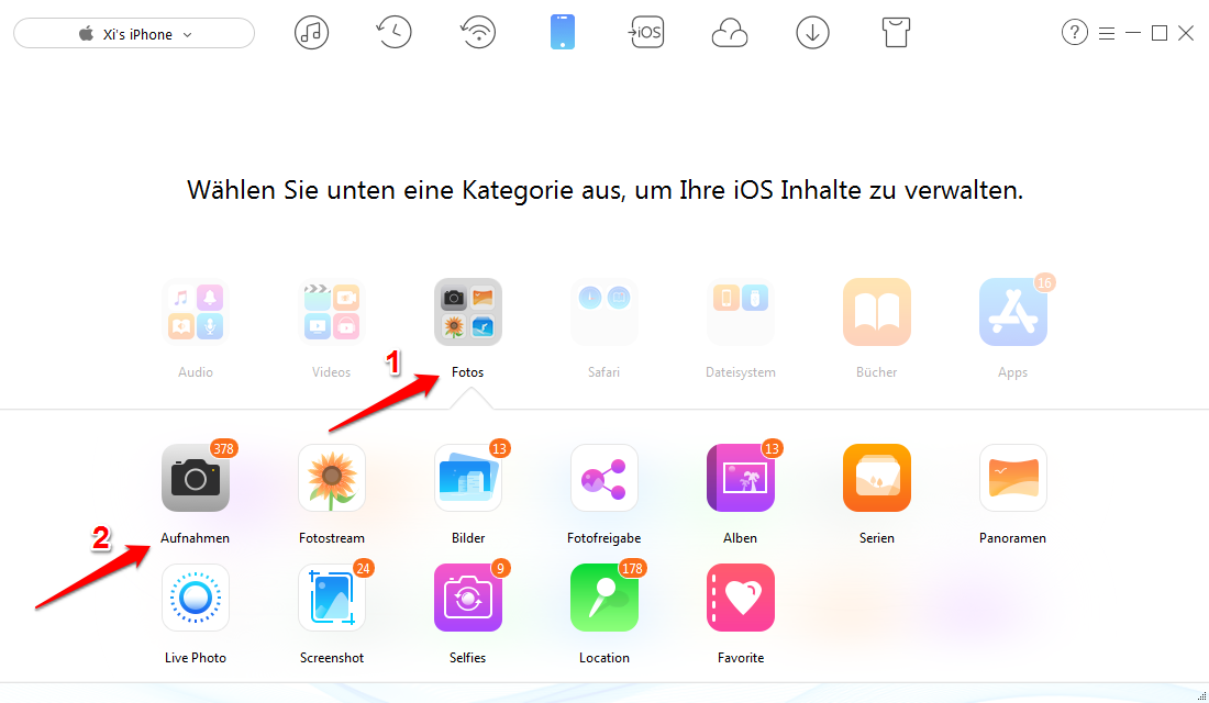 Fotos von iPhone einfach löschen – Schritt 2