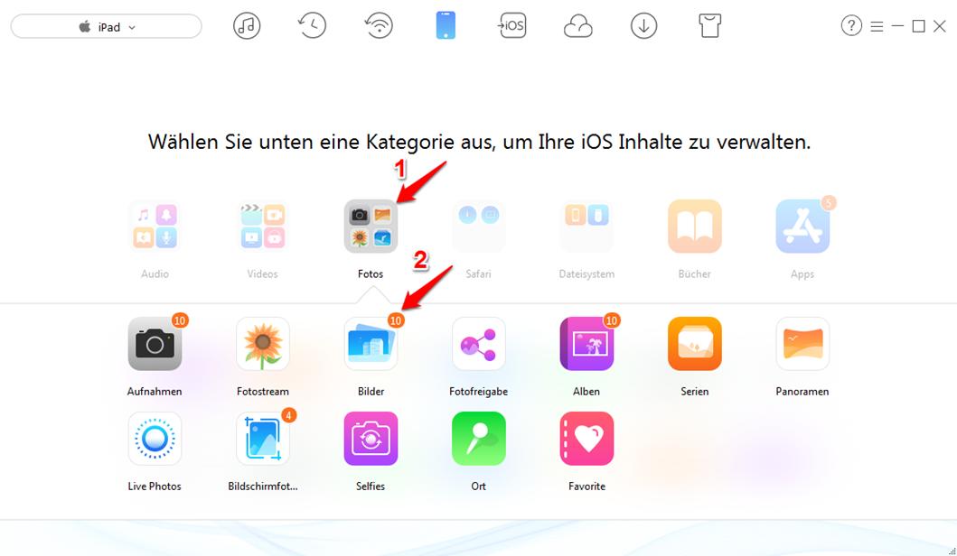 Bilder von Kamera auf iPad übertragen  – Schritt 2
