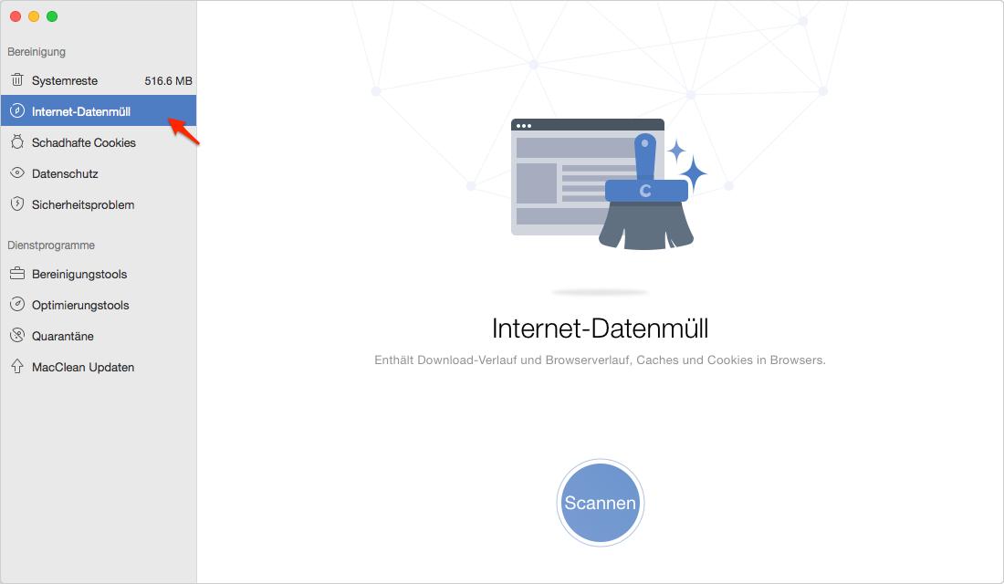 Internet-Datenmüll wählen und scannen lassen - Schritt 1